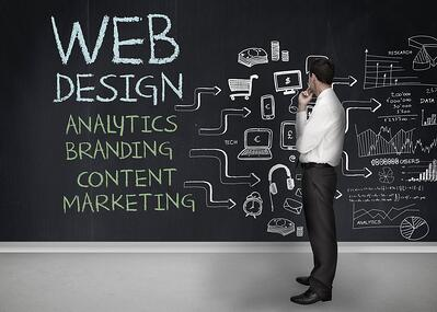 Businessman standing in front of a chalkboard - Web Design - Lone Armadillo